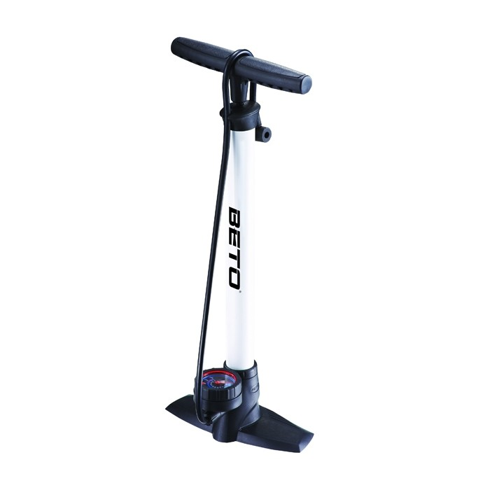 Beto Steel Track Pump with Guage White